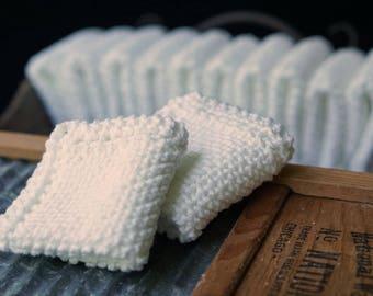 Twelve White Cotton Washcloths, Cleaning Cloths, Dish Rags, Grandma's Favorite, White Dish Cloths, Facial Cloths, Baby Washcloths, Dozen Set