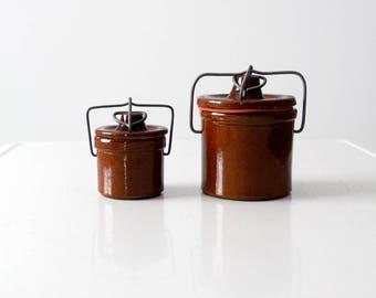 vintage stoneware bail lock jar set/2, preserve jar, canning jar