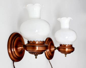 mid-century Lavery & Co copper wall sconces