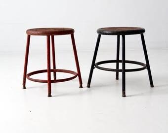 vintage industrial stool pair, metal stools set/2