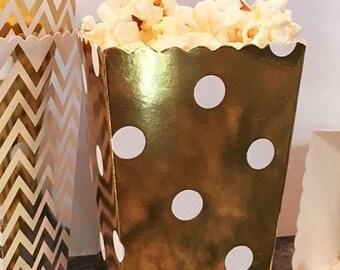 GLAMSALE 36 Mini Popcorn Favor Boxes in Chevron, Stripe or Polka Dot, Mini Popcorn Favor Boxes, Gold and Silver Wedding Favor Boxes