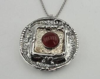 Hadar big  Art Silver 925 , gold , garnet , Pendant , round, chain ,Christmas , Combined Gold (4009g