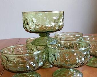 Anchor Hocking Lido Milano green glass dessert sorbet cups
