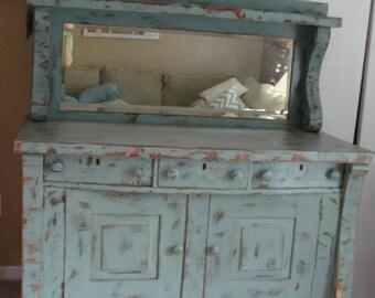 Painted Distressed Sea Sage Oak Sideboard Buffet