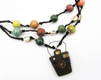 Camera Necklace - Fun, Colorful, Beaded - Clay Camera - Picture Day Jewelry