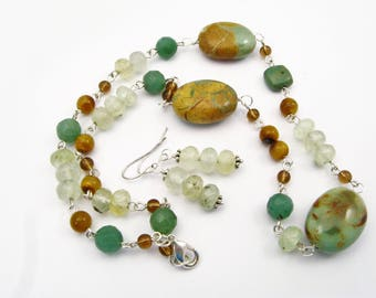 Beautiful Turquoise, Prehnite and Jade Jewelry Set - Chunky Necklace and Dangle Earrings, Silver
