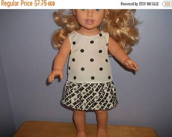 American 18 Inch doll clothes top and skirt white and black with dots and star wars