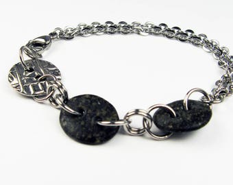 Rock Bracelet - Black or Dark Gray River Pebble Bracelet with Steel Chain and Pewter Button for Outdoorsy Nature Lover