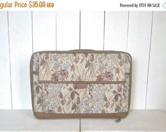 34% Off Sale - Floral Suitcase 1980s Jordache Beige Neutral Print Luggage