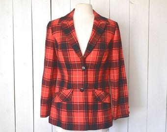34% Off Sale - Pendleton Wool Blazer Jacket - 1970s Red Black Tartan Plaid - Vintage Womens Twin Peaks Coat - Small S / Medium M