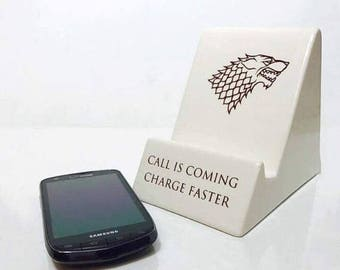 SALE SALE Game of Thrones Gift | Phone Holder | Game of Thrones | House Stark | Free Shipping | Handmade Ceramics from my Charleston, SC Stu
