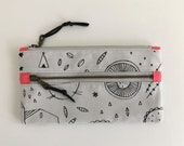 double zip pouch, zipper pouch, screen printed exterior, make up bag, pencil pouch, pocket, metal zippers, ready to ship, leather pull