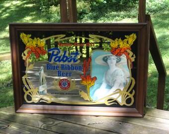 Vintage Pabst Blue Ribbon Mirror