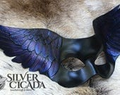 Raven wing leather Masquerade mask  Ready to Ship! great for Halloween costume, vampire