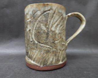 Large Stoneware pottery slab mug with cream glaze and black stains, earthy, rustic, primitive, 16 ounce mug….#4573