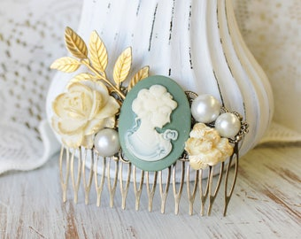 Cream Wedding Hair Piece - Wedding Hair Comb - Gold Bridal Hair Comb - Cameo Wedding Hair Accessories - Flower Hair Comb - Floral Hair Comb