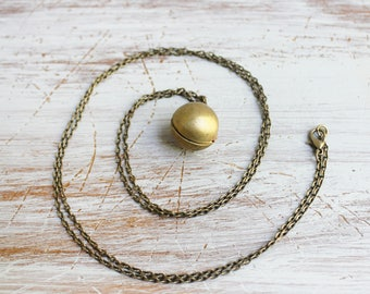 Ball Locket Necklace - Vintage Locket Gold Necklace - Brass Locket Necklace - Long Locket Necklace - Locket Pendant - Long Pendant Necklace