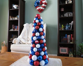 "Table Top Tree Patriotic Red White Blue 20""  Ornament Tree"