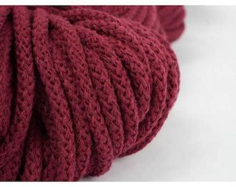 3 mm BURGUNDY RED Cotton Rope= 5 Yards= 4.57 Meters of Elegant Cotton Braided Cord-Bulky Yarn-Knitting Yarn-Crochet Rope-Macrame Cotton Cord