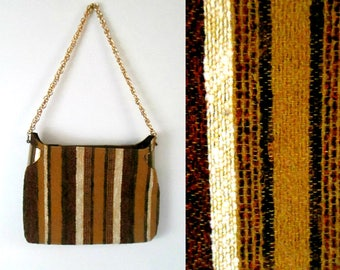 1960s Woven Wool Handbag with Gold Chain // Mid Century Mod Striped Shoulder Bag