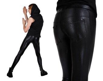 Men's Black Snake Print Leggings w. Jeans Back,  Meggings, Spandex Pants, Glam Rock, Burning Man, Heavy Metal Clothing, by LENA QUIST