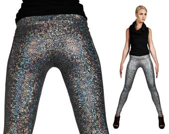 Silver Hologram Leggings w. Jeans Back, Back Pockets, Holographic Spandex Pants, Stage Wear, Futuristic Fashion, Burning Man, by LENA QUIST