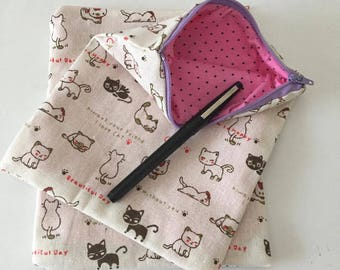 Pencil case pouch for girl cat japan zakka pink back to school cute school supplies tampon case sanitary pouch case zipper nintendo ds case