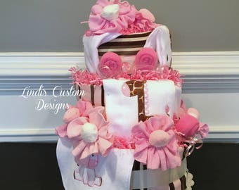 Deluxe Girl Giraffe Diaper Cake, Pink Brown Safari Girl Diaper Cake, Unique Baby Gift, Giraffe Baby Shower Table Centerpiece, Embroidered