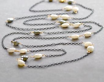 Bohemian Gemstone Necklace by Agusha. Long Silverite Necklace. Boho Oxidized Silver Necklace