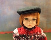 American Made Reserved listing-Designer Black Wool Newsboy Cap with Silk Lining