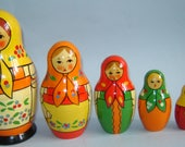 Set of 6 Old vintage USSR Soviet Russian nesting dolls *** RARE SET*** Unique
