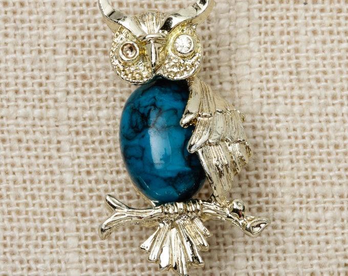 Owl Brooch Vintage Blue Cabachon Gerrys Small Broach Vtg Pin 7T