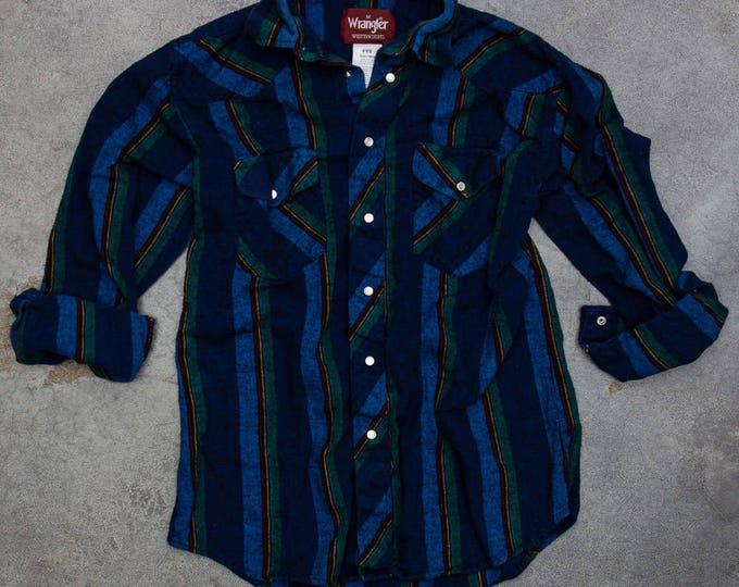 Western Striped Soft Shirt WRANGLER Cowboy Vintage Cuffed Flannel | Mens Womens Unisex | 7BD
