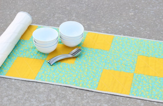 Turquoise Gold Quilted Table Runner