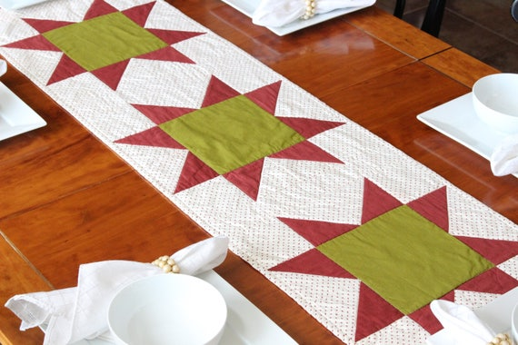 Red Green Christmas Quilted Patchwork Table Runner