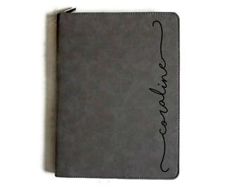 Engraved Leather Portfolio with zipper, Personalized Portfolio, Personalized Journal with zipper, Business Portfolio