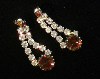 Vintage Earrings, Rhinestone Dangle Earrings, Rootbeer Rhinestones, Clear Rhinestones, Rhinestone Drop Earrings.