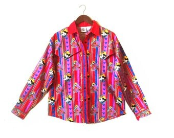 Vintage Disney Mickey Mouse country western cowboy shirt
