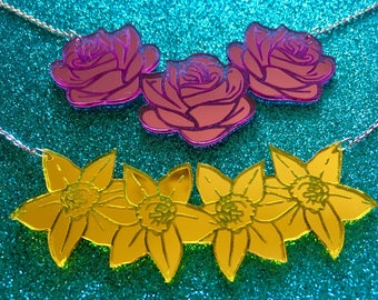 Laser Cut Acrylic Mirror Spring Roses Daffodil Daisy Tulip Statement Necklace