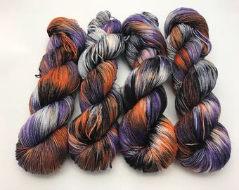 McQueen Silk Sock, Hand Dyed Yarn, Sock Yarn, Fingering Weight, Superwash Merino, Silk, High twist, Hand Dyed, Spooky Spooky