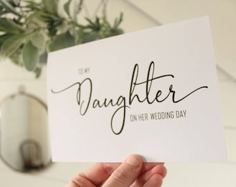 To My Daughter On Her Wedding Day Card | Simple Elegant Wedding Card | Wedding Card | Greeting Card
