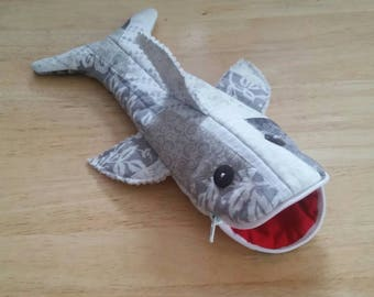 Gray Quilted Shark Pencil Case with zipper