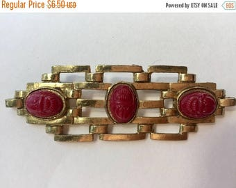 SUMMER SALE Vintage Shabby Chic Red Scarab Gold Bar Brooch