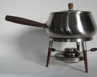 Mid Century Modern Stainless steel and teak fondue pot set, Made in Japan, set includes Fondue Forks