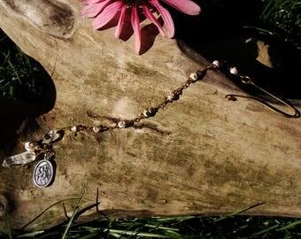 Pretty Gift For Mom. Safe Travel Protection. Cloisonne & Swarovski Bead Rosary Chain. St Christopher Medal. Quartz Crystal Charm. Girl Gift
