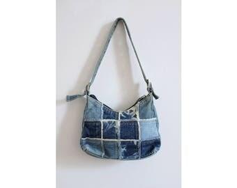 80s Acid Wash Denim Patchwork Handbag
