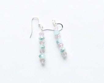 Handmade Dangle Earrings Pale Pink Swarovski Crystal Varigated Sage Green Glass Beads Jewelry Gift