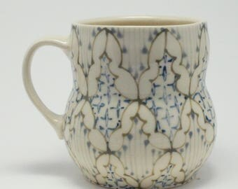 Handmade Wheel Thrown Ceramic Mug with Brown, Grey and Navy Blue Pattern