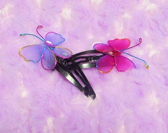 Colorful Butterfly Decorative Hair Clip Set // Hair Barrettes in pastel purple and pink
