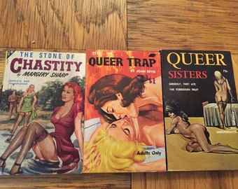Three Queer Pulp Fiction Books with Plastic covers